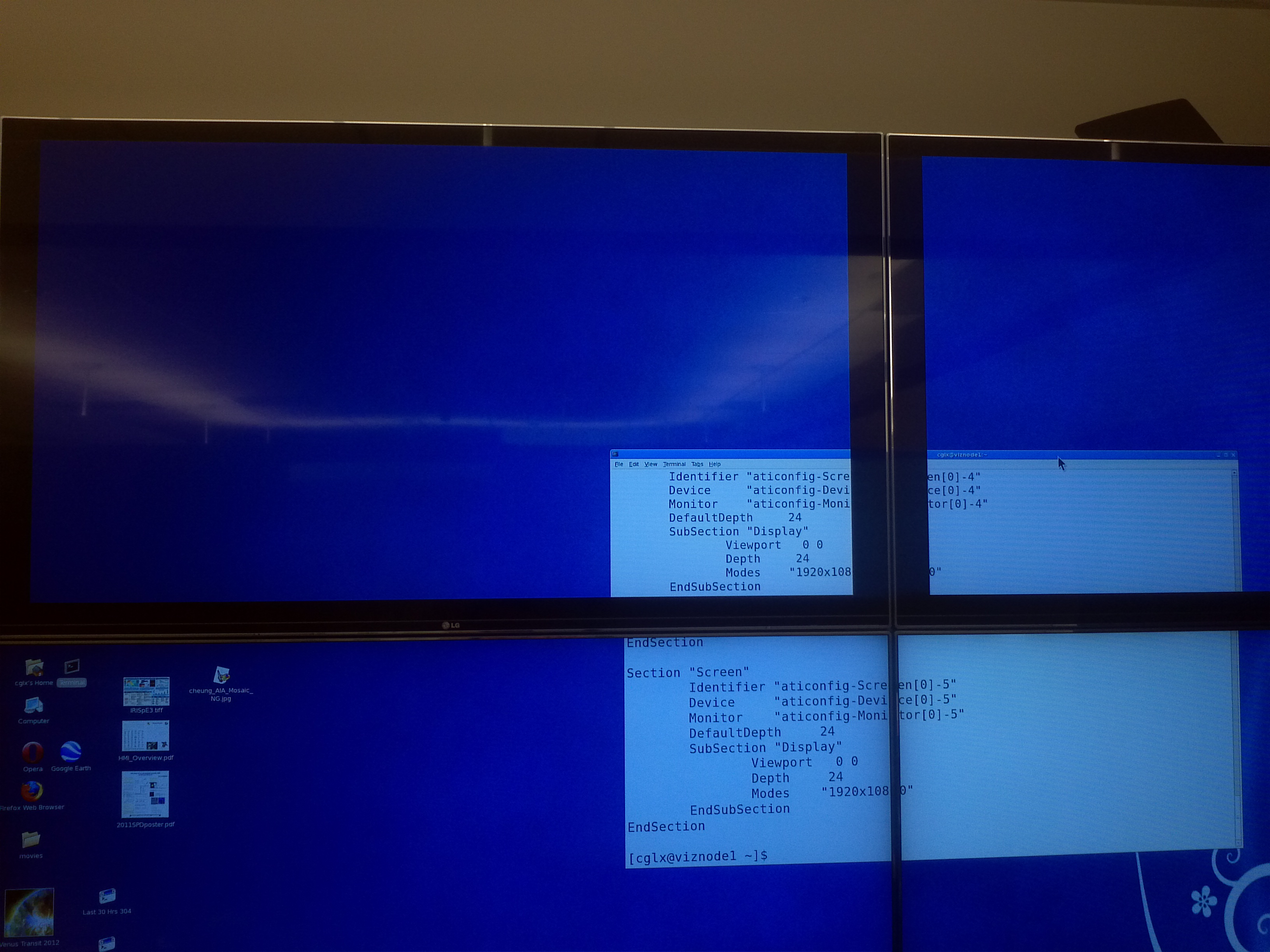 Unwanted black border around top row of LCD screens.  The Terminal window shows the split best.